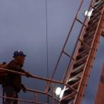 Pete Climbing Crane